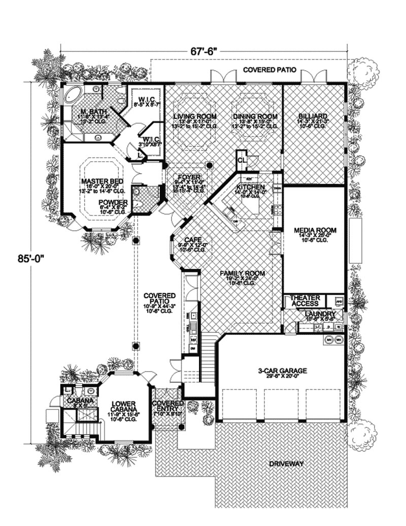 Caribbean design style luxury villa 5 bedrooms 4 baths for Villa architecture design plans