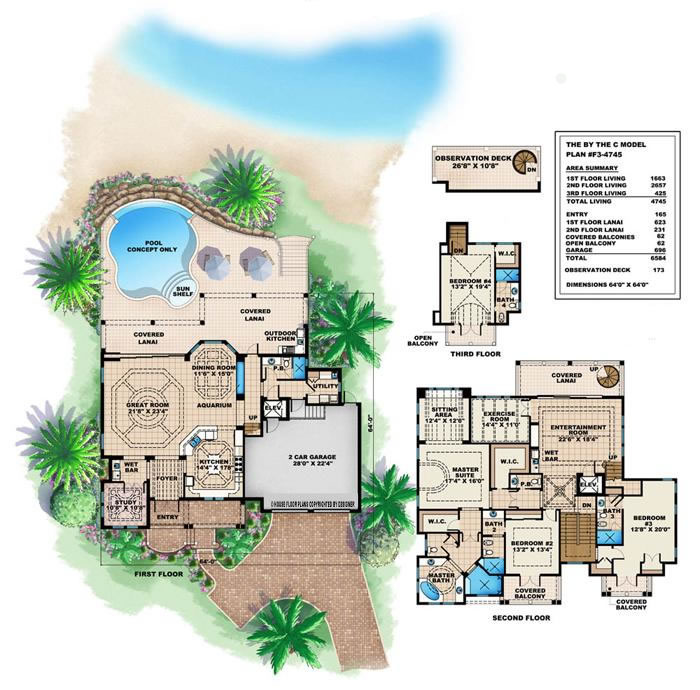 Luxury House Plans Designs: Caribbean House Design Style, 4 Bedrooms 5 Baths Luxury